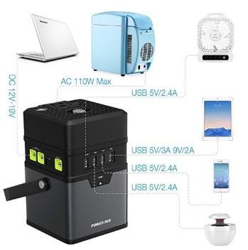 PowerAdd 185 portable solar generator ports